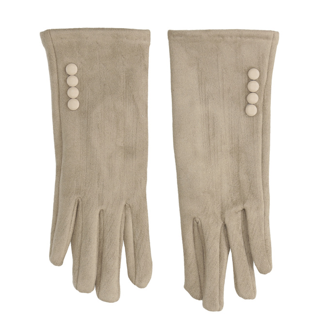 Dámské textilní rukavice s knoflíčky bata, béžová, 909-8612 - 26