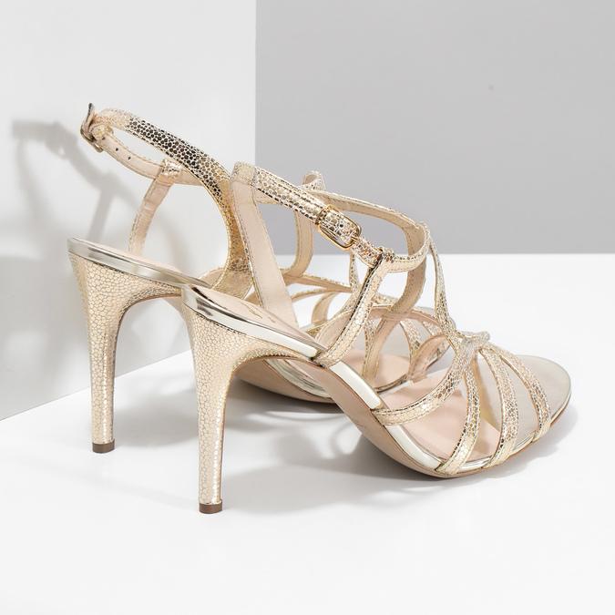Zlaté společenské sandály z kůže bata, 726-8648 - 16