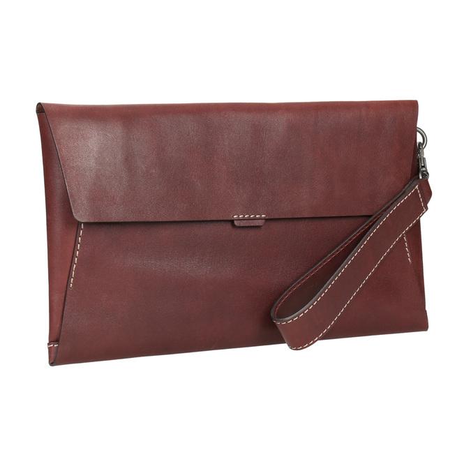 Kožené psaníčko s prošitím bata, červená, 966-5285 - 13