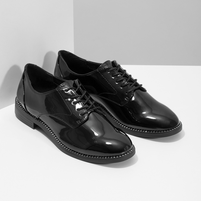 Dámské lakované polobotky bata, černá, 521-6608 - 26