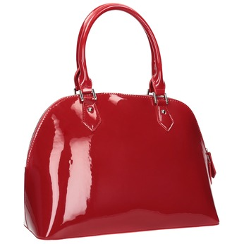 Červená lakovaná kabelka bata, červená, 961-5849 - 13