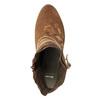 Kožené kotníčkové kozačky s výšivkou bata, hnědá, 696-4655 - 17