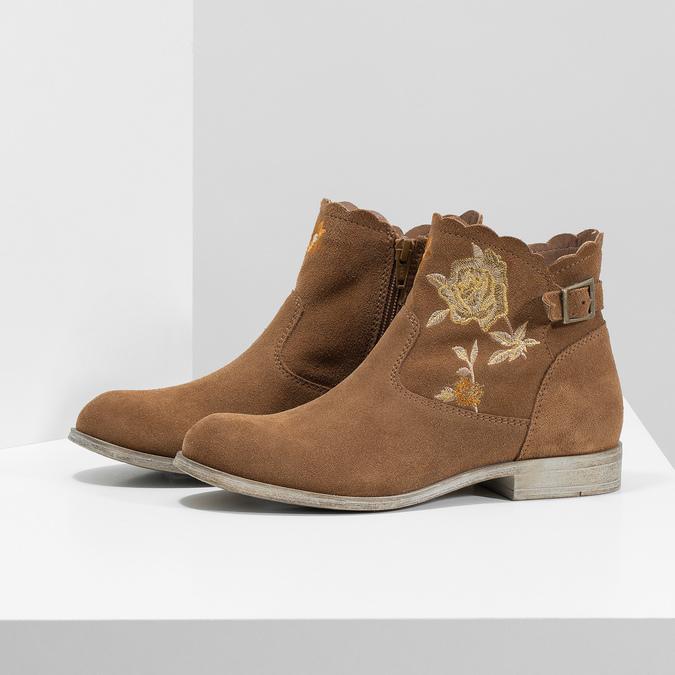 Kotníčkové kožené kozačky s výšivkou bata, hnědá, 596-4686 - 16