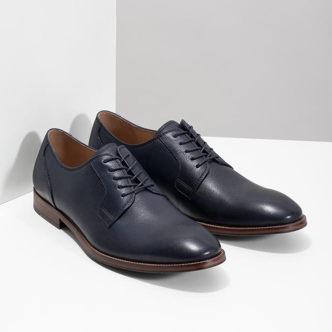Modré kožené polobotky bata, modrá, 826-9997 - 26