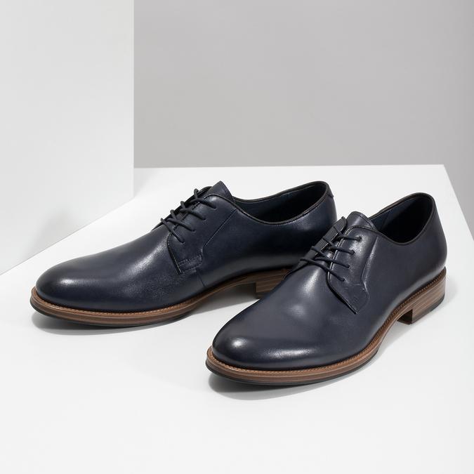 Modré kožené polobotky bata, modrá, 826-9810 - 16