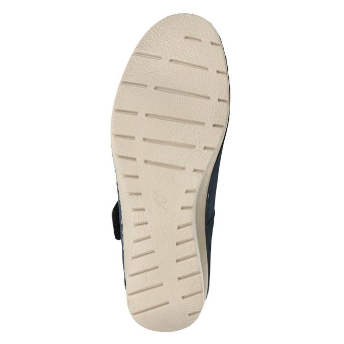 Kožené baleríny na klínovém podpatku bata, modrá, 626-9645 - 17