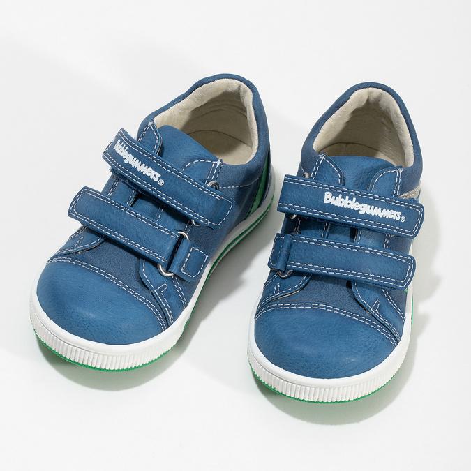 Modré dětské tenisky se zeleným detailem bubblegummers, modrá, 111-9625 - 16
