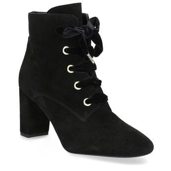 Kožené kotníčkové boty s mašlí bata, černá, 793-6613 - 13