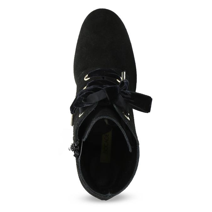 Kožené kotníčkové boty s mašlí bata, černá, 793-6613 - 17