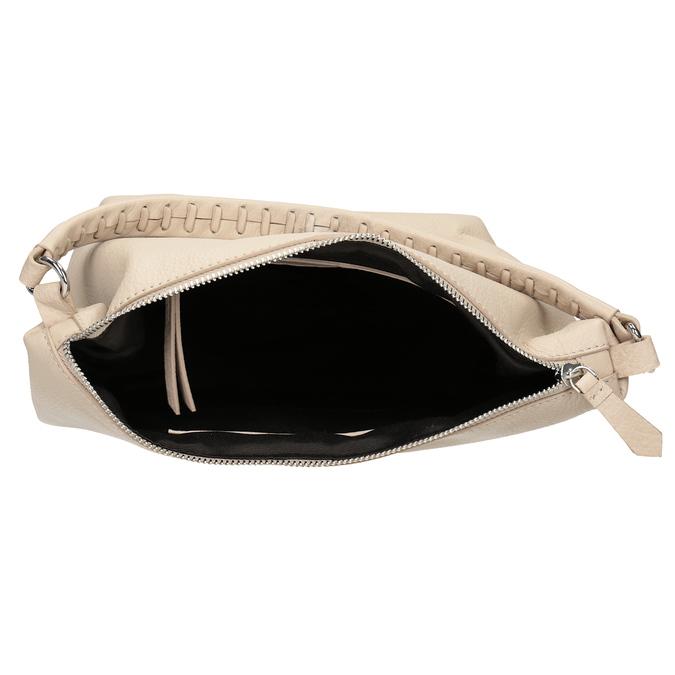 Krémová kožená Hobo kabelka bata, béžová, 964-8290 - 15