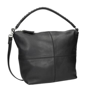 Kožená Hobo kabelka s prošitím bata, černá, 964-6290 - 13