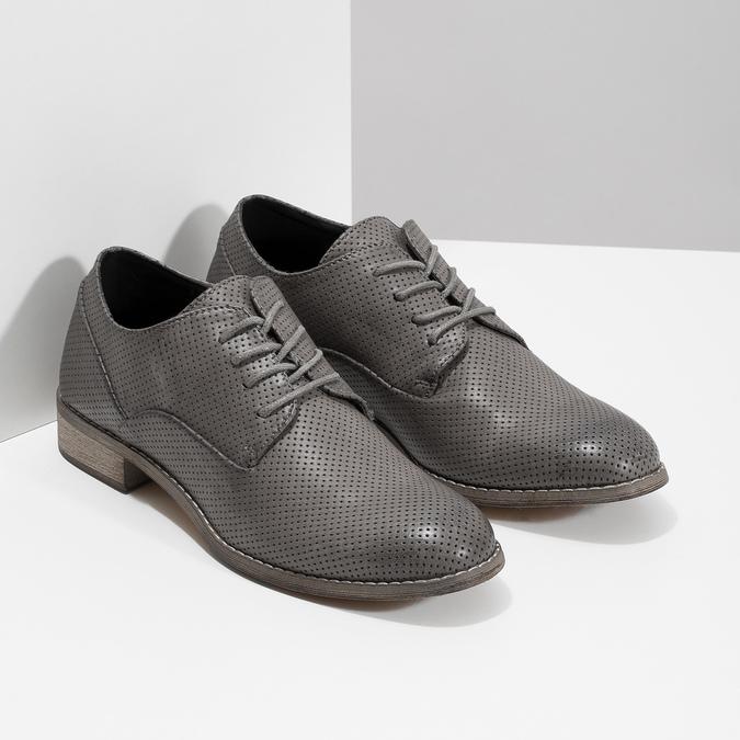 Dámské polobotky s perforací bata, šedá, 521-2609 - 26