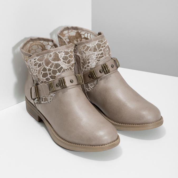 Dámské kozačky s krajkou bata, šedá, 591-2628 - 26
