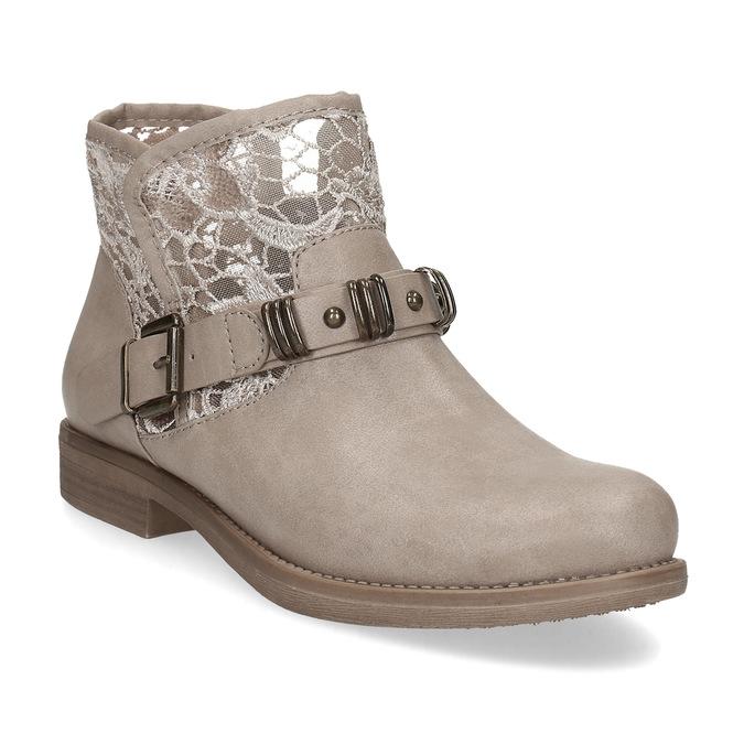 Dámské kozačky s krajkou bata, šedá, 591-2628 - 13