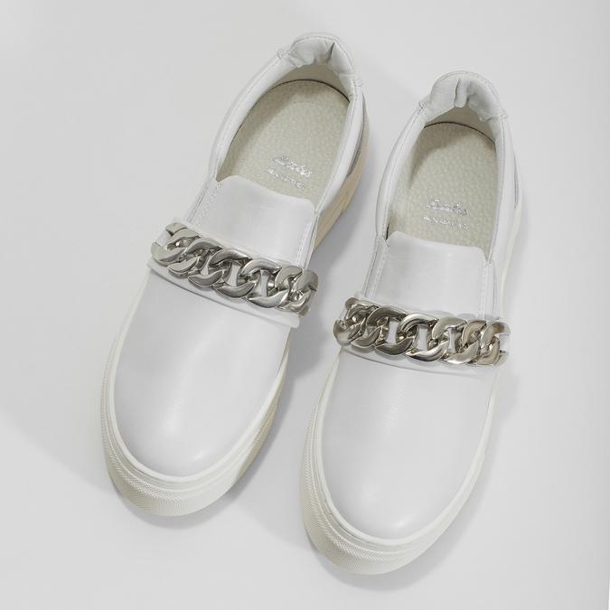 Kožené dámské Slip-on s řetízkem bata, bílá, 514-1601 - 16