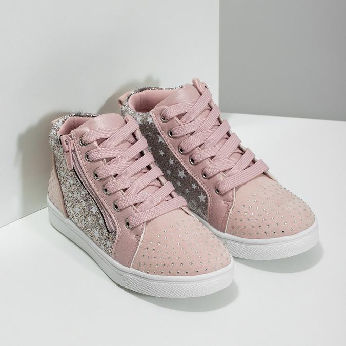 Růžové kotníčkové tenisky s kamínky mini-b, růžová, 229-5107 - 26