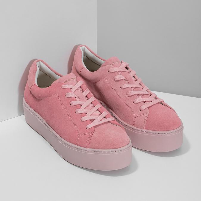 Růžové kožené tenisky na flatformě vagabond, růžová, 623-5050 - 26