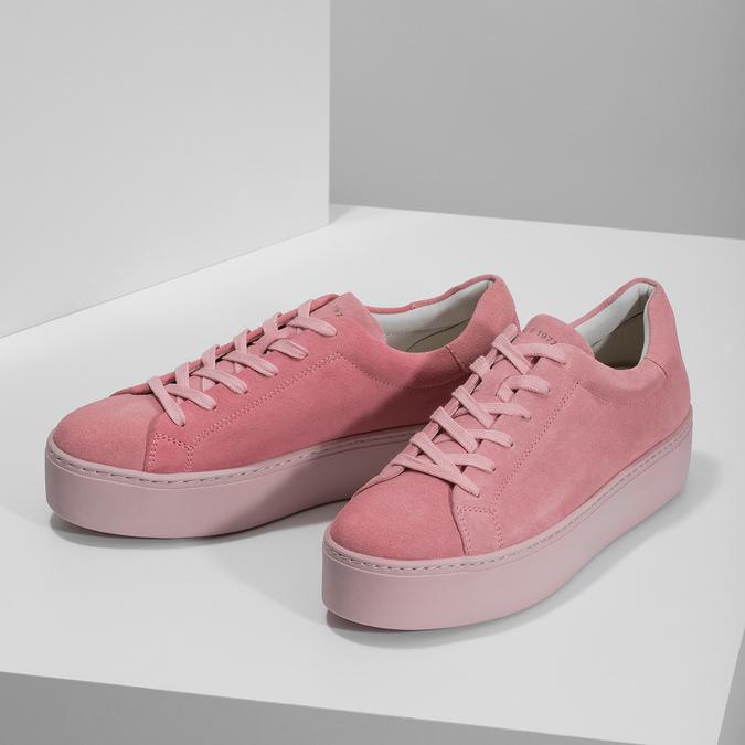 Růžové kožené tenisky na flatformě vagabond, růžová, 623-5050 - 16