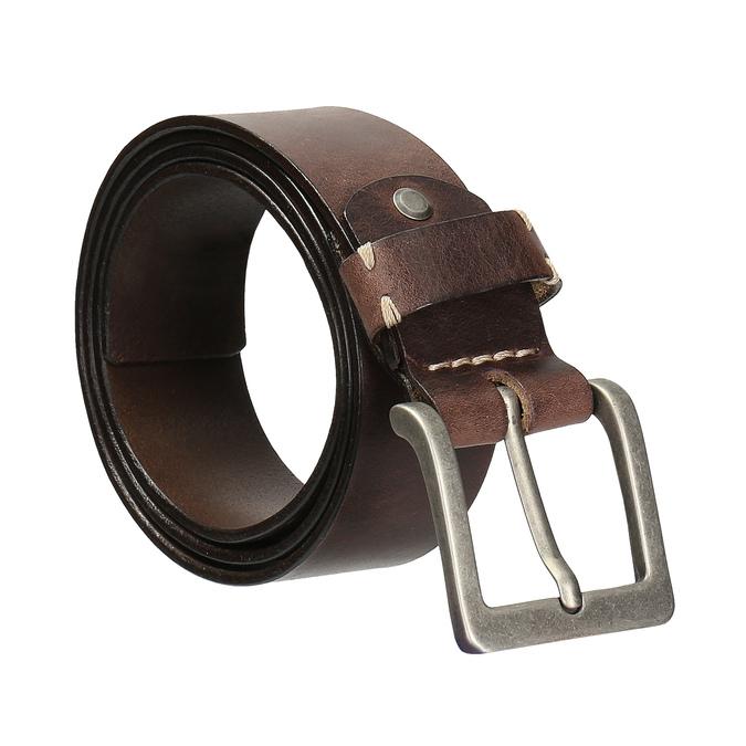Pánský kožený opasek hnědý bata, hnědá, 954-4205 - 13