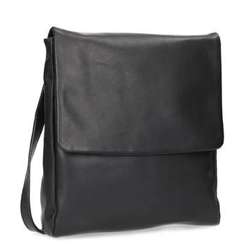 Unisex kožená Crossbody taška s klopu vagabond, černá, 966-6064 - 13