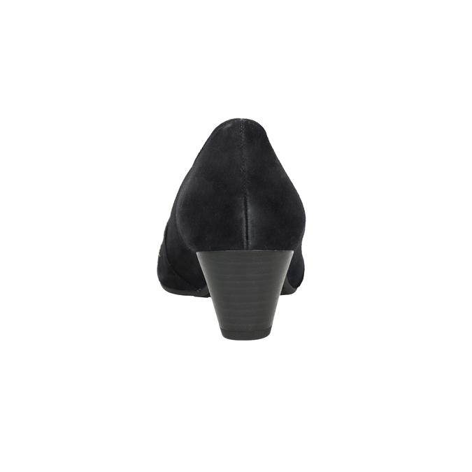Kožené lodičky šíře H s kamínky gabor, černá, 723-6306 - 16