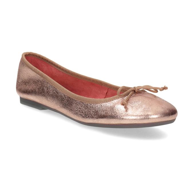 Kožené baleríny v odstínu Rose Gold bata, 526-5144 - 13