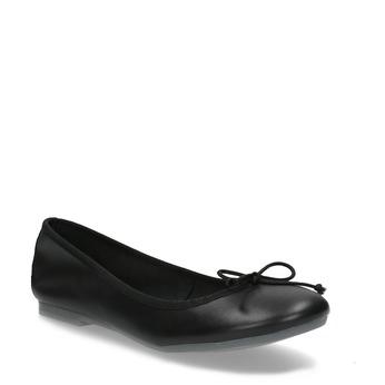 Kožené černé baleríny s mašličkou bata, černá, 524-6144 - 13