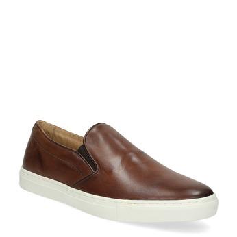 Pánská kožená Slip-on obuv bata, hnědá, 836-4601 - 13