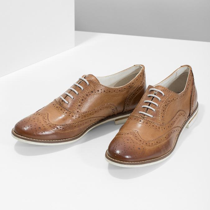 Hnědé dámské kožené polobotky bata, hnědá, 526-3649 - 16