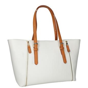 Bílá kabelka s ozdobnými zipy bata, bílá, 961-1840 - 13