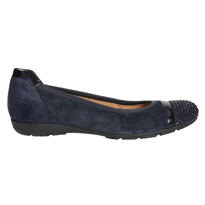 Dámské kožené baleríny s kamínky gabor, modrá, 526-9502 - 26