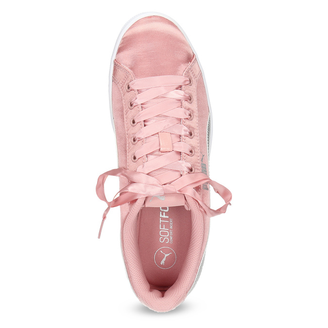 Růžové saténové tenisky s mašlí puma, růžová, 509-5718 - 17