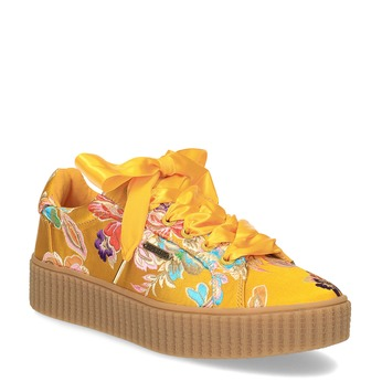 Tenisky s barevnou výšivkou a mašlí pepe-jeans, žlutá, 549-8075 - 13