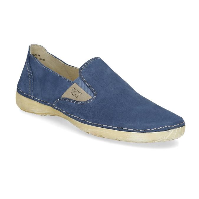 Dámské kožené Slip-on modré weinbrenner, modrá, 536-9606 - 13