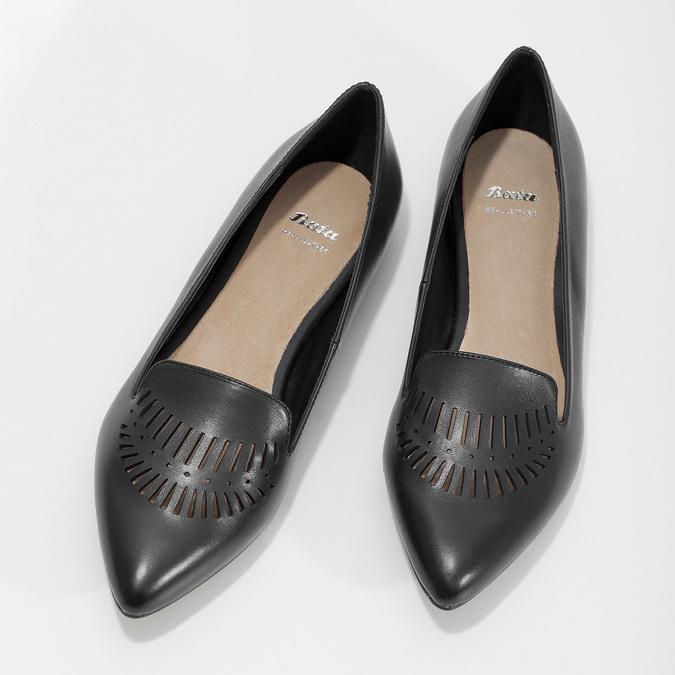 Kožené dámské Loafers s perforací bata, černá, 524-6659 - 16