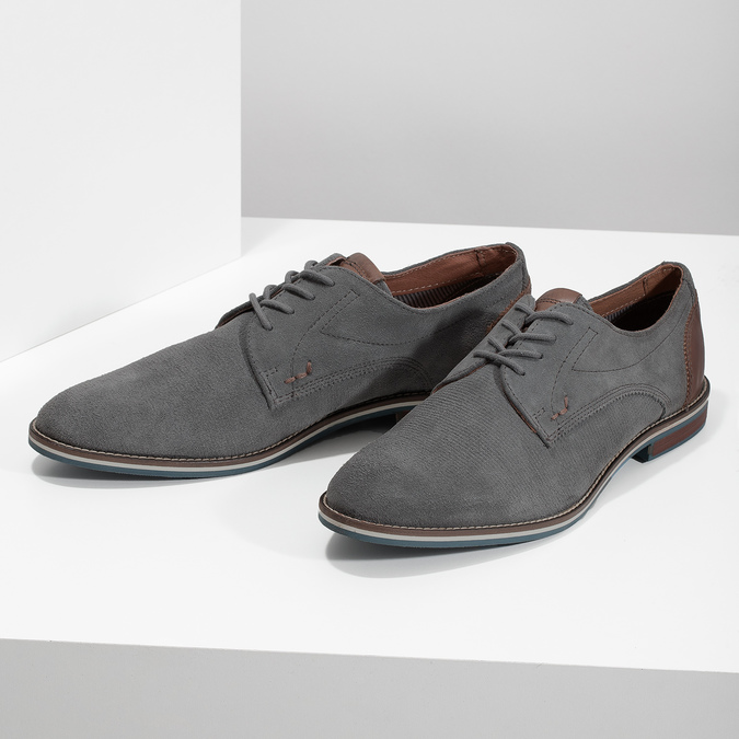 Ležérní kožené polobotky šedé bata, šedá, 823-2600 - 16