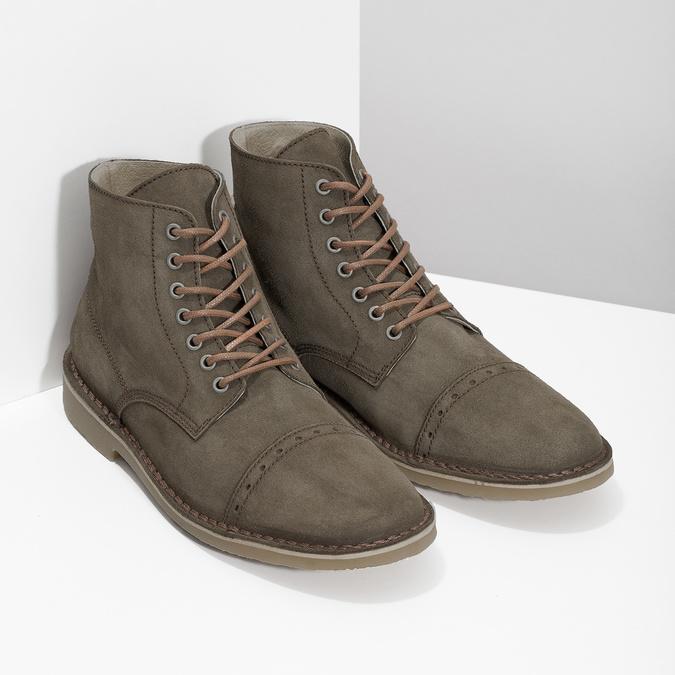 Kotníčková obuv z broušené kůže bata, khaki, 823-7629 - 26