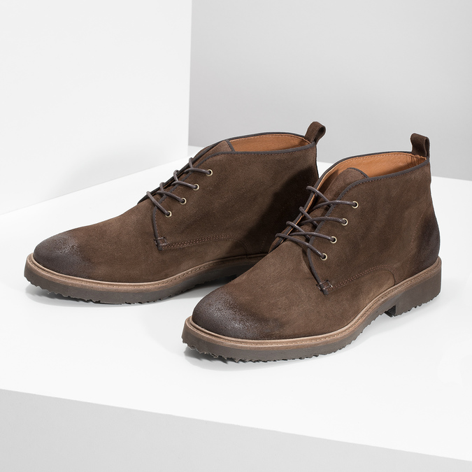 Kožená obuv ve stylu Chukka Boots bata, hnědá, 823-4627 - 16