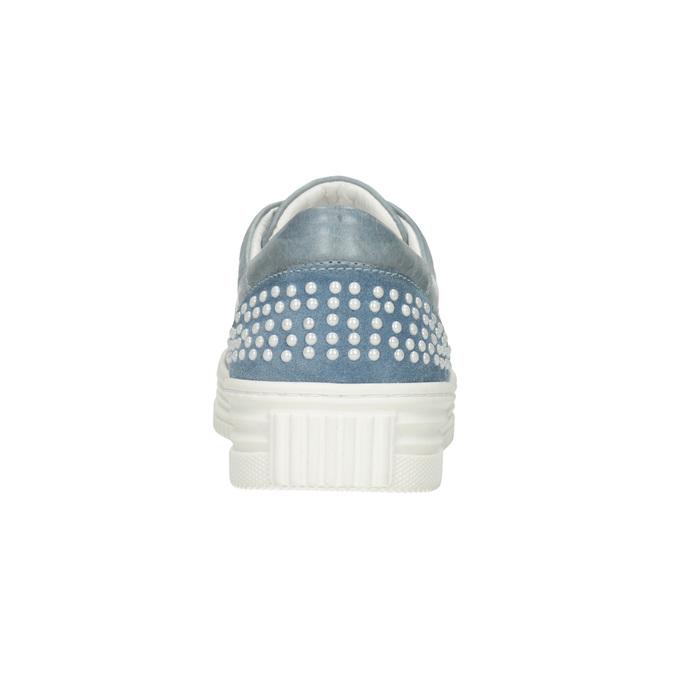 Dámské kožené tenisky s perličkami bata, modrá, 546-9606 - 16