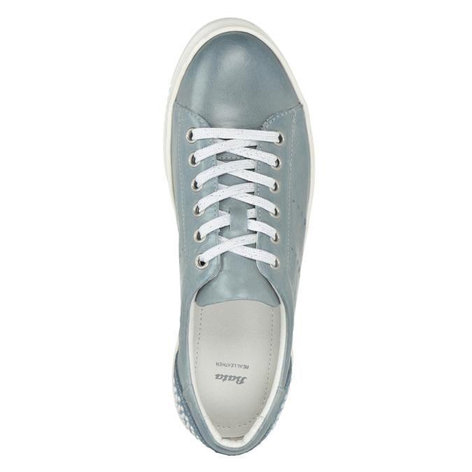 Dámské kožené tenisky s perličkami bata, modrá, 546-9606 - 15