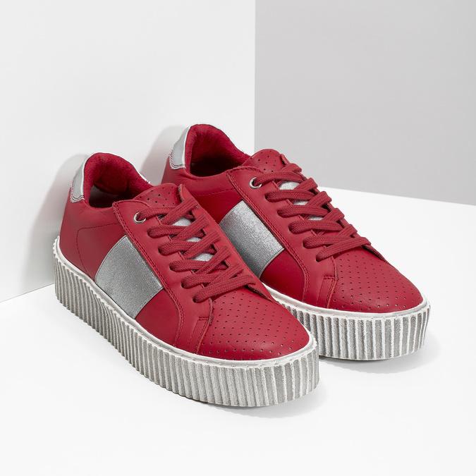 Červené kožené tenisky na flatformě bata, červená, 546-5616 - 26