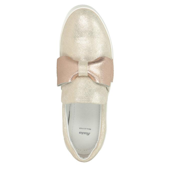 Kožená Slip-on obuv s mašlí bata, růžová, 536-5600 - 15