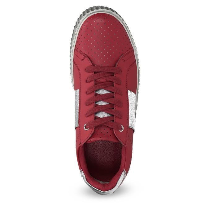 Červené kožené tenisky na flatformě bata, červená, 546-5616 - 17