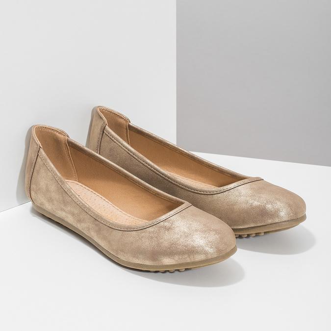 Zlaté dámské baleríny bata, 529-8640 - 26