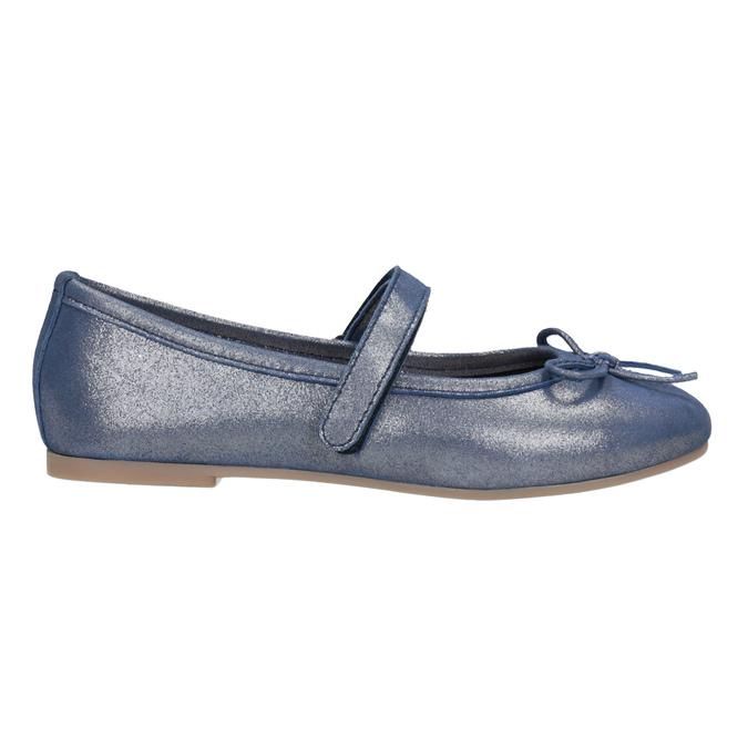 Modré kožené dívčí baleríny mini-b, modrá, 326-9602 - 26