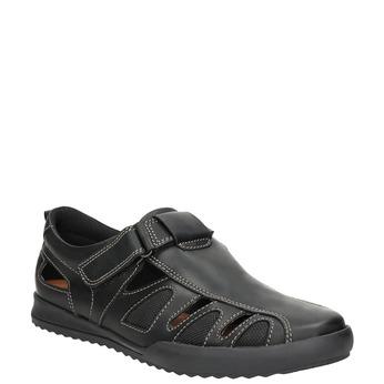 Pánské kožené sandály s prošitím comfit, černá, 856-6605 - 13