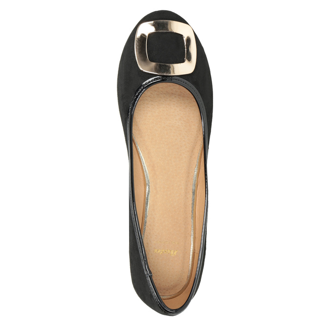 Baleríny se zlatou sponou bata, černá, 529-6638 - 15