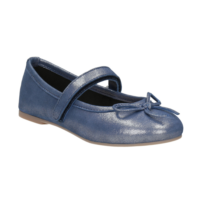 Modré kožené dívčí baleríny mini-b, modrá, 326-9602 - 13