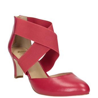 Růžové kožené lodičky insolia, červená, 624-5643 - 13