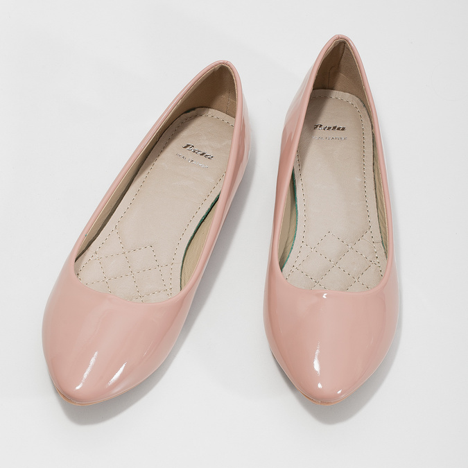 Lakované dámské baleríny bata, růžová, 521-5602 - 16